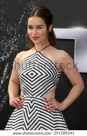 "LOS ANGELES - JUN 28:  Emilia Clarke at the ""Terminator Genisys"" Los Angeles Premiere at the Dolby Theater on June 28, 2015 in Los Angeles, CA - stock photo"