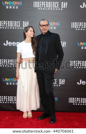 LOS ANGELES - JUN 20:  Emilie Livingston, Jeff Goldblum at the Independence Day: Resurgence LA Premiere at the TCL Chinese Theater IMAX on June 20, 2016 in Los Angeles, CA - stock photo