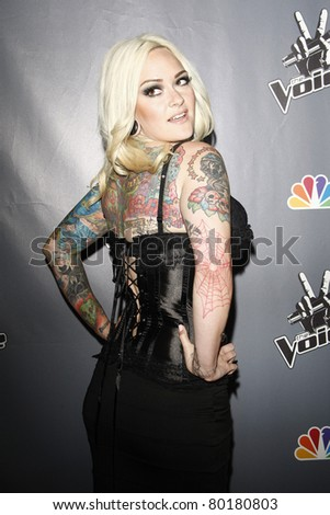 LOS ANGELES - JUN 29: Emily Valentine at the 'The Voice' Live Finale After Party at the Avalon Hollywood on June 29, 2011 in Los Angeles, California - stock photo