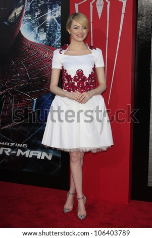 LOS ANGELES - JUN 28: Emma Stone at the premiere of Columbia Pictures' 'The Amazing Spider-Man' at the Regency Village Theater on June 28, 2012 in Los Angeles, California - stock photo