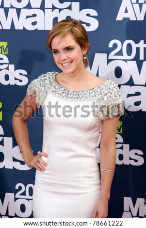 LOS ANGELES - JUN 5:  Emma Watson arriving at the the 2011 MTV Movie Awards at Gibson Ampitheatre on June 5, 2011 in Los Angeles, CA - stock photo