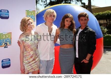 "LOS ANGELES - JUN 22:  Grace Phipps, Ross Lynch, Maia Mitchell, Garrett Clayton at the ""Teen Beach 2"" Premiere  at the Walt Disney Studios on June 22, 2015 in Burbank, CA - stock photo"