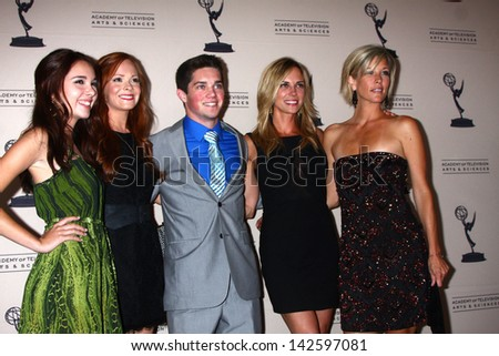 LOS ANGELES - JUN 13:  Haley Pullos, Emily Wilson, ?, Kelly Sullivan, Laura Wright arrives at the Daytime Emmy Nominees Reception at the Montage Beverly Hills on June 13, 2013 in Beverly Hills, CA
