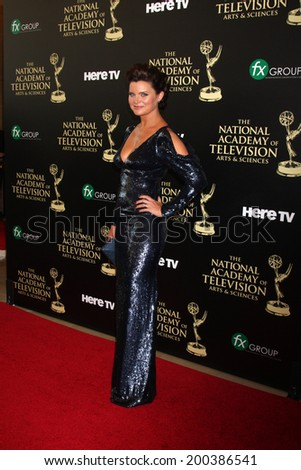 LOS ANGELES - JUN 22:  Heather Tom at the 2014 Daytime Emmy Awards Arrivals at the Beverly Hilton Hotel on June 22, 2014 in Beverly Hills, CA - stock photo