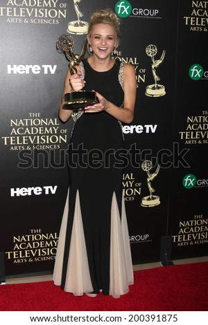 LOS ANGELES - JUN 22:  Hunter King at the 2014 Daytime Emmy Awards Press Room at the Beverly Hilton Hotel on June 22, 2014 in Beverly Hills, CA - stock photo