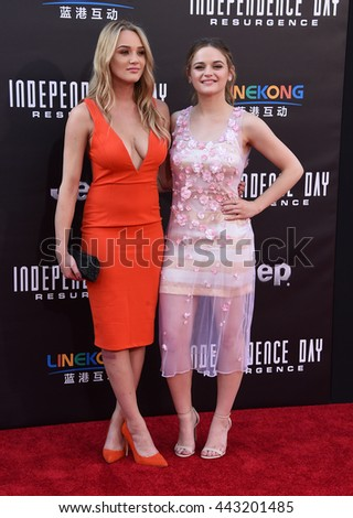 """LOS ANGELES - JUN 20:  Hunter King & Joey King arrives to the """"Independence Day: Resurgence"""" Los Angeles Premiere  on June 20, 2016 in Hollywood, CA.                 - stock photo"""