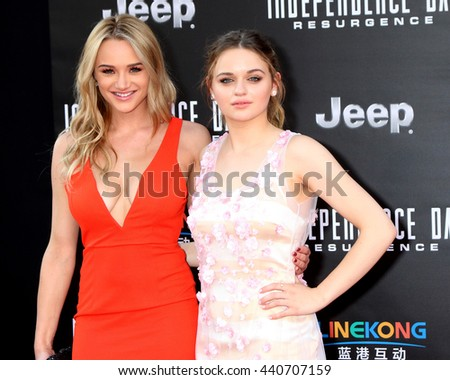 LOS ANGELES - JUN 20:  Hunter King, Joey King at the Independence Day: Resurgence LA Premiere at the TCL Chinese Theater IMAX on June 20, 2016 in Los Angeles, CA - stock photo