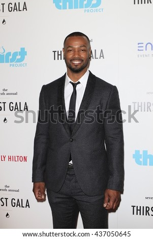 LOS ANGELES - JUN 13:  Isaiah Mustafa at the 7th Annual Thirst Gala at the Beverly Hilton Hotel on June 13, 2016 in Beverly Hills, CA - stock photo