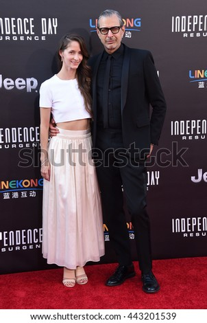 """LOS ANGELES - JUN 20:  Jeff Goldblum & Emilie Livingston arrives to the """"Independence Day: Resurgence"""" Los Angeles Premiere  on June 20, 2016 in Hollywood, CA.                 - stock photo"""