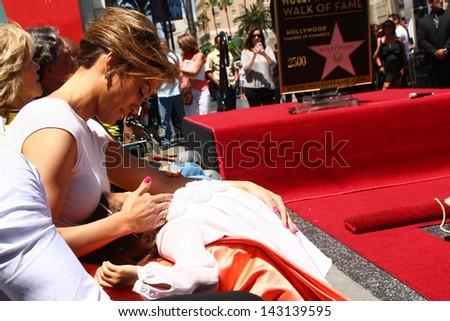 LOS ANGELES - JUN 20:  Jennifer Lopez, Emme Anthony at the Hollywood Walk of Fame star ceremony for Jennifer Lopez at the W Hollywood Hotel on June 20, 2013 in Los Angeles, CA - stock photo