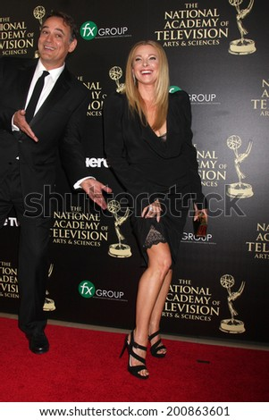LOS ANGELES - JUN 22:  Jon Lindstrom, Cady McClain at the 2014 Daytime Emmy Awards Arrivals at the Beverly Hilton Hotel on June 22, 2014 in Beverly Hills, CA - stock photo