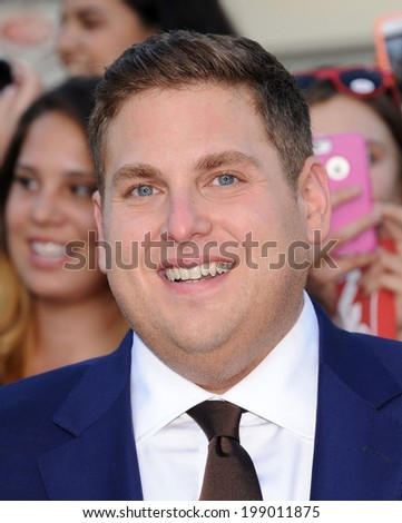 """LOS ANGELES - JUN 09:  Jonah Hill arrives to the """"22 Jump Street"""" World Premiere  on June 09, 2014 in North Hollywood, CA                 - stock photo"""