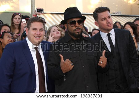 "LOS ANGELES - JUN 10:  Jonah Hill, Ice Cube, Channing Tatum at the ""22 Jump Street"" Premiere at Village Theater on June 10, 2014 in Westwood, CA - stock photo"