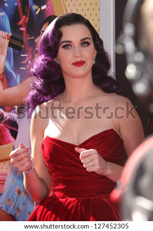 "LOS ANGELES - JUN 26:  Katy Perry arriving to ""Katy Perry: Part Of Me"" Los Angeles Premiere  on June 26, 2012 in Hollywood, CA"