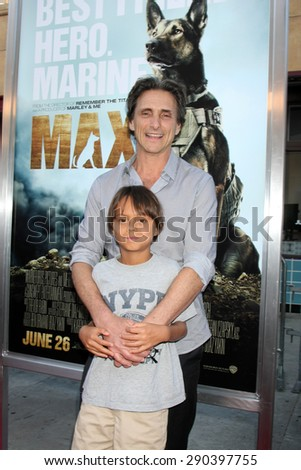 "LOS ANGELES - JUN 23:  Lawrence Bender, Mischa Bender at the ""Max""  Premiere  at the Egyptian Theater on June 23, 2015 in Los Angeles, CA - stock photo"