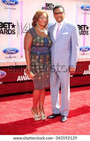 LOS ANGELES - JUN 29:  Linda Reese, Greg Mathis at the 2014 BET Awards - Arrivals at the Nokia Theater at LA Live on June 29, 2014 in Los Angeles, CA - stock photo