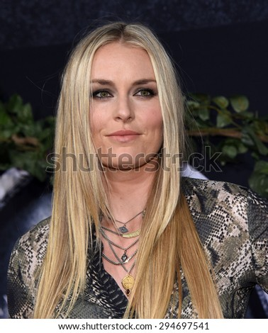"LOS ANGELES - JUN 09:  Lindsey Vonn arrives to the ""Jurassic World"" World Premiere  on June 9, 2015 in Hollywood, CA                 - stock photo"