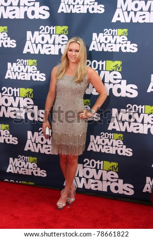 LOS ANGELES - JUN 5:  Lindsey Vonn arriving at the the 2011 MTV Movie Awards at Gibson Ampitheatre on June 5, 2011 in Los Angeles, CA - stock photo