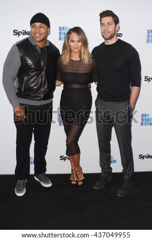 LOS ANGELES - JUN 14:  LL Cool J, James Todd Smith, Chrissy Teigen, John Krasinski at the Lip Sync Battle FYC Event at the Saban Media Center on June 14, 2016 in North Hollywood, CA - stock photo