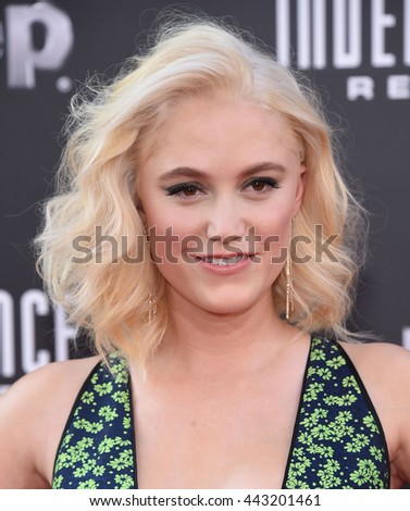"LOS ANGELES - JUN 20:  Maika Monroe arrives to the ""Independence Day: Resurgence"" Los Angeles Premiere  on June 20, 2016 in Hollywood, CA.                 - stock photo"
