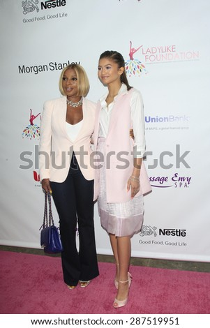 LOS ANGELES - JUN 13: Mary J Blige, Zendaya at the  LadyLike Foundation 7th Annual Women Of Excellence Scholarship Luncheon at Luxe Hotel on June 13, 2015 in Los Angeles, California. - stock photo