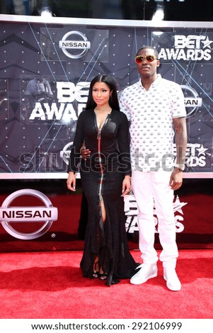 LOS ANGELES - JUN 28:  Nicki Minaj, Meek Mill at the 2015 BET Awards - Arrivals at the Microsoft Theater on June 28, 2015 in Los Angeles, CA - stock photo