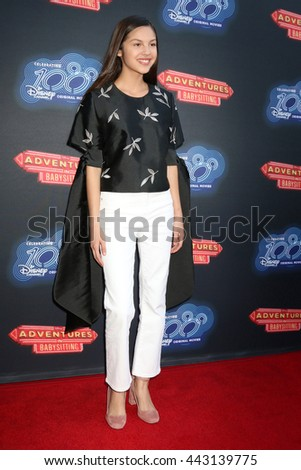 LOS ANGELES - JUN 23:  Olivia Rodrigo at the 100th DCOM Adventures In Babysitting LA Premiere Screening at the Directors Guild of America on June 23, 2016 in Los Angeles, CA - stock photo