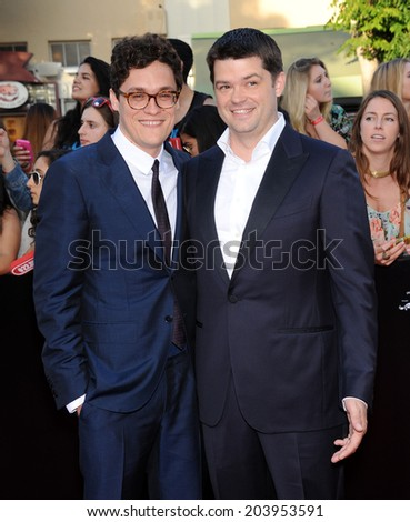 "LOS ANGELES - JUN 09:  Phil Lord & Chris Miiler arrives to the ""22 Jump Street"" World Premiere  on June 09, 2014 in North Hollywood, CA                 - stock photo"