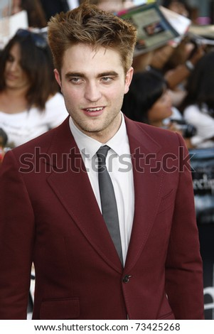 LOS ANGELES - JUN 24:  Robert Pattinson arrives at the premiere of 'The Twilight Saga: Eclipse' on June 24, 2010 at the Nokia Theater at LA Live in Los Angeles, CA - stock photo
