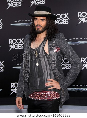 "LOS ANGELES - JUN 08:  RUSSELL BRAND arrives to the ""Rock of Ages"" World Premiere  on June 08, 2012 in Hollywood, CA                 - stock photo"