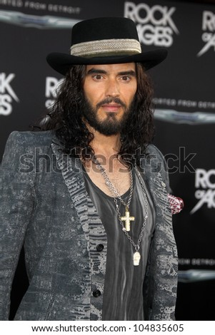 "LOS ANGELES - JUN 8:  Russell Brand arriving at ""Rock of Ages"" World Premiere at Graumans Chinese Theater on June 8, 2012 in Los Angeles, CA - stock photo"