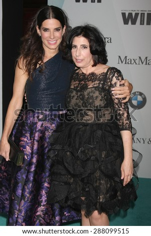 LOS ANGELES - JUN 16:  Sandra Bullock, Sue Kroll at the Women In Film 2015 Crystal + Lucy Awards at the Century Plaza Hotel on June 16, 2015 in Century City, CA - stock photo