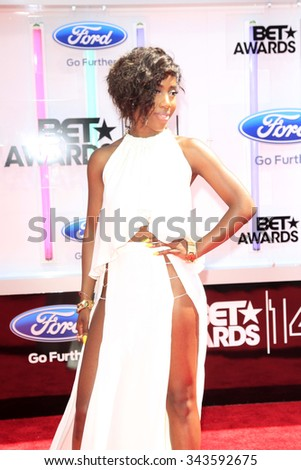 LOS ANGELES - JUN 29:  Sevyn Streeter at the 2014 BET Awards - Arrivals at the Nokia Theater at LA Live on June 29, 2014 in Los Angeles, CA - stock photo