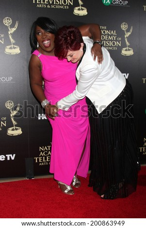 LOS ANGELES - JUN 22:  Sheryl Underwood, Sharon Osbourne at the 2014 Daytime Emmy Awards Arrivals at the Beverly Hilton Hotel on June 22, 2014 in Beverly Hills, CA - stock photo