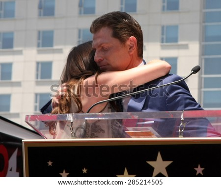 LOS ANGELES - JUN 2:  Sophie Flay, Bobby Flay at the Bobby Flay Hollywood Walk of Fame Ceremony at the Hollywood Blvd on June 2, 2015 in Los Angeles, CA - stock photo