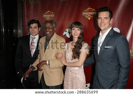 "LOS ANGELES - JUN 17:  Storm Lineberger, Robert Guillaume, Katie Travis, Chris Mann at the ""The Phantom of the Opera"" Play Premiere at the Pantages,Theater on June 17, 2015 in Los Angeles, CA"