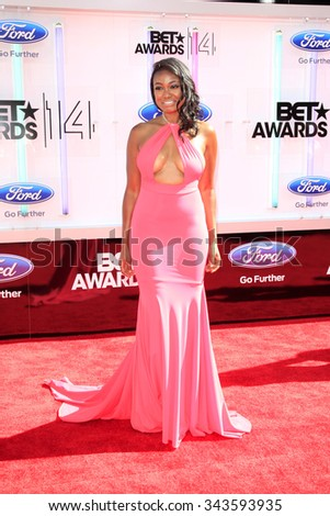 LOS ANGELES - JUN 29:  Tatyana Ali at the 2014 BET Awards - Arrivals at the Nokia Theater at LA Live on June 29, 2014 in Los Angeles, CA - stock photo