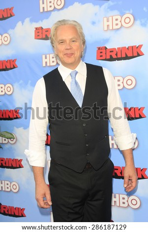 """LOS ANGELES - JUN 8:  Tim Robbins at the HBO's """"The Brink"""" Premiere at the Paramount Studios on June 8, 2015 in Los Angeles, CA - stock photo"""