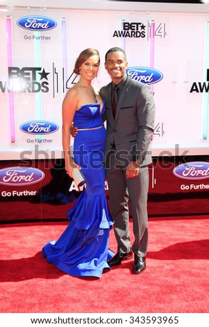 LOS ANGELES - JUN 29:  Tomasina Parrott, Larenz Tate at the 2014 BET Awards - Arrivals at the Nokia Theater at LA Live on June 29, 2014 in Los Angeles, CA - stock photo