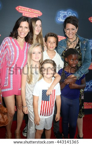 LOS ANGELES - JUN 23:  Tricia Leigh Fisher, Joely Fisher, and children at the Adventures In Babysitting LA Premiere Screening at the Directors Guild of America on June 23, 2016 in Los Angeles, CA - stock photo