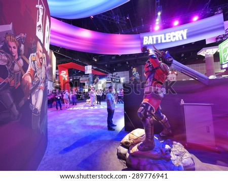 LOS ANGELES - June 17: Battlecry video game booth at E3 2015 expo. Electronic Entertainment Expo, commonly known as E3, is an annual trade fair for the video game industry - stock photo