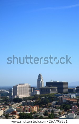 LOS ANGELES - JUNE 30: Downtown buildings including City Hall on June 30, 2012 in Los Angeles, California. LA is the the most populous city in California and second-largest city in the United States. - stock photo