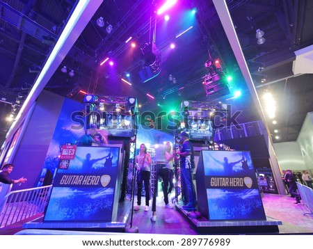 LOS ANGELES - June 17: Guitar Hero booth at E3 2015 expo. Electronic Entertainment Expo, commonly known as E3, is an annual trade fair for the video game industry - stock photo