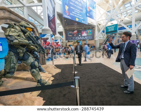 LOS ANGELES - June 16: Halo 5 Guardians game characters sculpture group at E3 2015 expo. Electronic Entertainment Expo, commonly known as E3, is an annual trade fair for the video game industry - stock photo