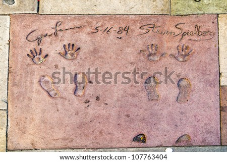 LOS ANGELES - JUNE 26:  handprints of Steven Spielberg in Hollywood on June 26,2012 in Los Angeles. There are nearly 200 celebrity handprints in the concrete of Chinese Theater.