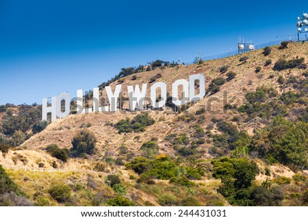 LOS ANGELES - JUNE 26: Hollywood Sign on Mount Lee in the Hollywood Hills on June 26, 2011.The sign overlooks the Hollywood district of Los Angeles. - stock photo