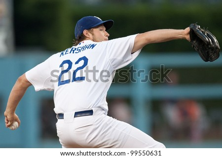 LOS ANGELES - JUNE 20: Los Angeles Dodgers starting pitcher Clayton Kershaw #22 during the Major League Baseball game on June 20 2011 at Dodger Stadium in Los Angeles. - stock photo