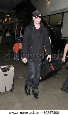 LOS ANGELES-JUNE 28: Rocker Marilyn Manson is seen at LAX. June 28, 2010 in Los Angeles, California