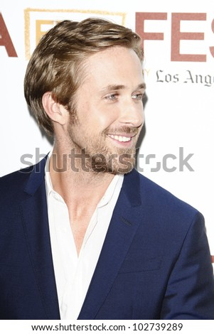LOS ANGELES - JUNE 17: Ryan Gosling at the 'Drive' premiere during the 2011 Los Angeles Film Festival at Regal Cinemas L.A. Live in Los Angeles, California on June 17, 2011. - stock photo