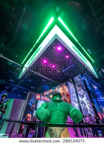 LOS ANGELES - June 17: Statue of Hulk made of lego blocks at the E3 2015 expo. Electronic Entertainment Expo, commonly known as E3, is an annual trade fair for the video game industry - stock photo